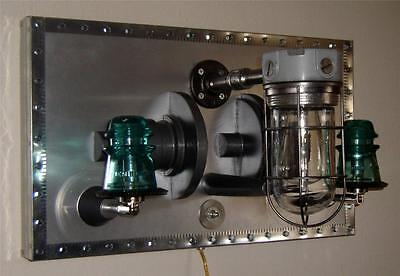 Industrial Steampunk Machine Age Wall Sconce Upcycled Repurposed
