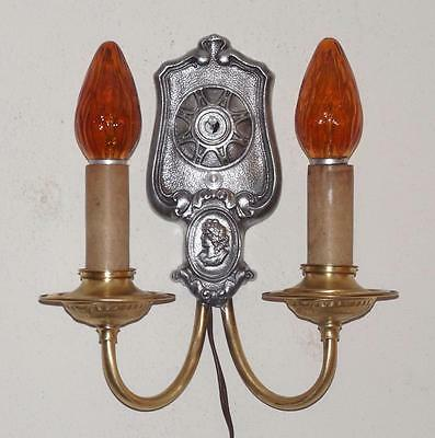 Vintage Ornate Cameo 1920's 1930's Nickel Brass Art Deco Wall Sconce Dual Light