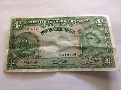 1953 Bahamas 4 Shillings Currency Note, VF.
