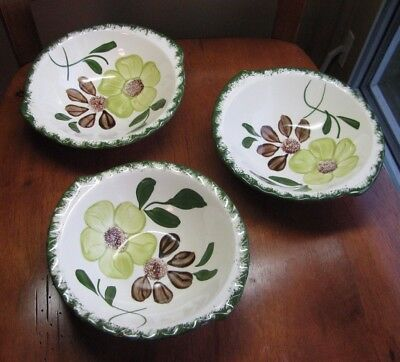 Blue Ridge Southern Potteries Green Briar Lugged Cereal Bowl LOT 3
