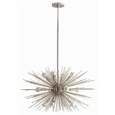 Mid Century Modern Sputnik 12 Light Chandelier in Nickel