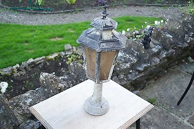 Vintage French Glass Porch Light Amber Glass