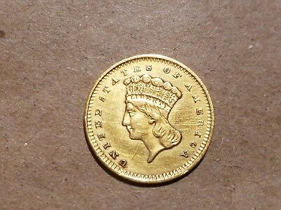 1858 Type 3 Gold Dollar Indian Princess Large Head $1 coin HIGH GRADE Details !