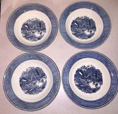 Currier and Ives 'Early Winter' Rimmed Soup Bowl Set of 4