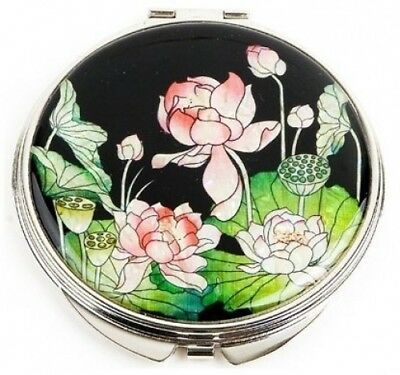 Silver J Mother of pearl hand mirror, compact type, handmade gift, lotus