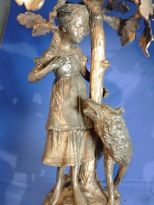 WMF Art Nouveau Silver Plate Centerpiece Girl with Dog