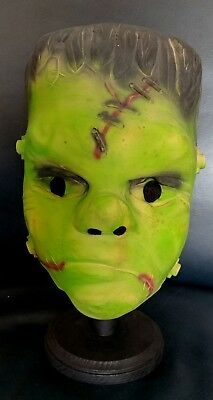 Vintage 1950's Frankenstein Monster Halloween Mask Teenager Sized Foam Filled