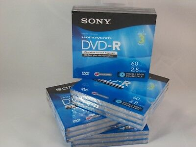 (4) NEW Sony Handycam 3 pack DVD-R Double Sided Mini Discs 2.8GB 60 Mins Lot