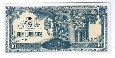 1942 Japanese Occupied Malaya $10 ten dollars P-M7a World War Two Relic CU UNC !