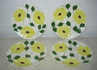 4 Blue Ridge Southern Potteries Bright Yellow Flowers Hand Painted Dinner Plates