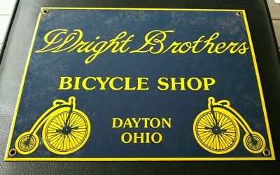 Vintage Old Antique porcelain sign ..Wright Bros Bicycle Shop