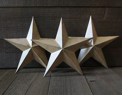 """Set of 3 Country Tan Primitive 10"""" inches Barn Stars Rustic Wall Decor Tin Metal"""