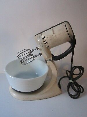 Vintage 1940's White General Electric Stand Mixerwith Ribbed Milkglass Bowl