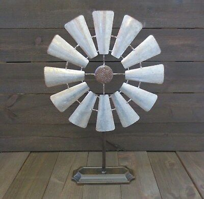 Rustic Windmill Galvanized Rusty Farmhouse Primitive Decor Metal Table Stand