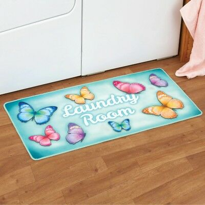 Colorful Butterfly Laundry Room Washer Dryer Cushion Floor Runner Rug Door Mat