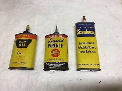 Vintage Machine Oil Gun Oil Cans - Lot Of 3- Outers, Screwloose, Liq. Wrench