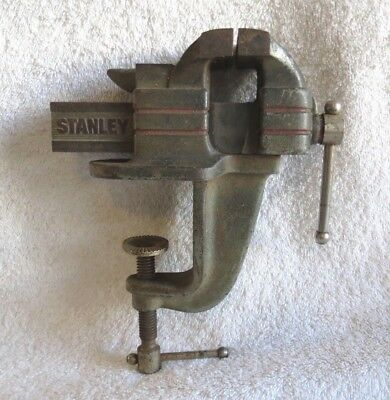 Original Vintage Stanley No. 763 Portable Cast Iron Clamp On Bench Vise