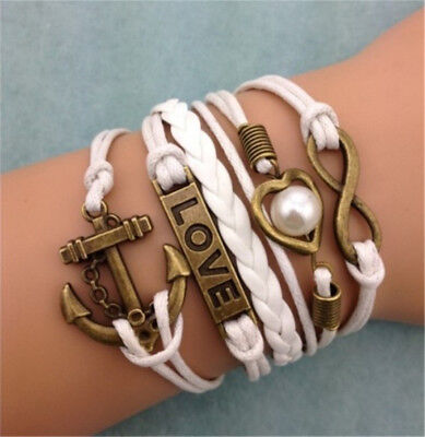 NEW Infinity Anchor Heart LOVE ancient bronze Leather Charm Bracelet HOT