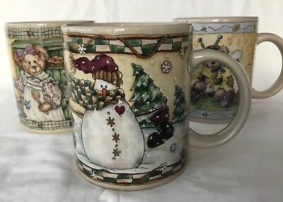 Boyds Collection Bearware Pottery Works Set of Three Mugs