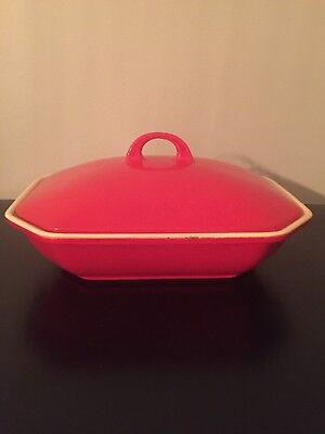 Vintage Griswold Red &cream Enamel #69 Cast Iron Covered Baking Casserole Dish