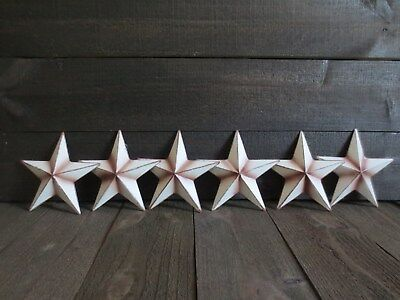 """Lot of 6 Country White Primitive Barn Stars 6"""" inch Rustic Rusty Metal Americana"""