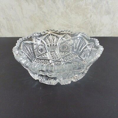"""Vintage Cut Clear Glass Bowl Round 6"""" Candy Nuts"""