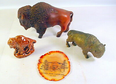 3 Cast Iron HAND CARVED SOLID WOOD AMERICAN BUFFALO BISON FIGURINE Salt Shaker