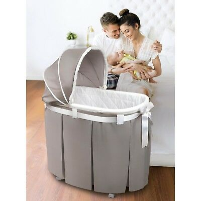 Bassinet Baby Cradle Portable 2 In 1 Canopy Hood Skirt Rocking Portable Wheel