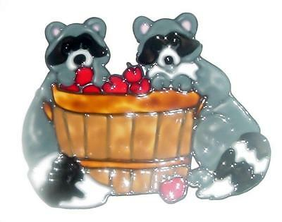 Raccoons In An Apple Barrel Faux Stained Glass Window Cling