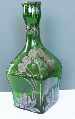 Old Large Green Glass Square Bottle Vase Silver Overlay Flowers Different!