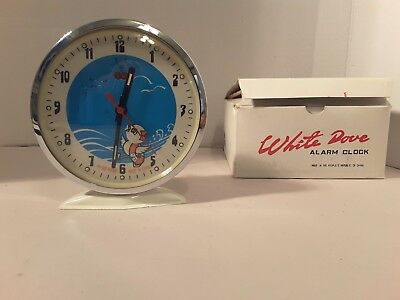 Vtg White Dove Wind Up Animated Bird Alarm Clock In Box New Old Stock Nos Roc
