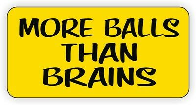 More Balls Than Brains Hard Hat Sticker | Welding Helmet Decal | Label Funny