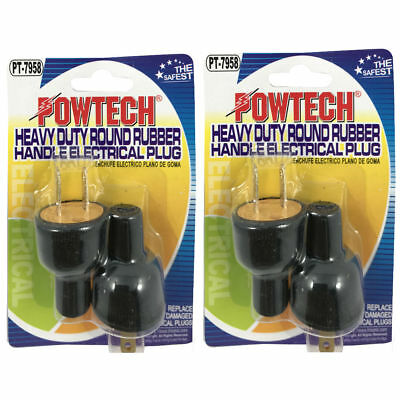 2X Replacement Electrical Plug Male Heavy Duty 2 Prong 2 Pack Powtech PT-7958
