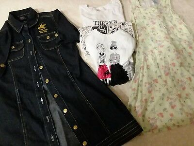 girls clothes size 10/12 lot of 2 dresses 3 t-shirts tops Polo Club Old Navy