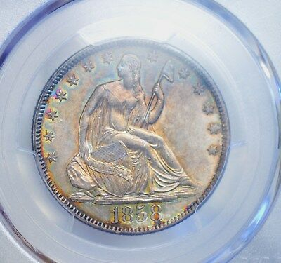Toned PCGS 1858 AU55 CAC colorful toning with glass like luster