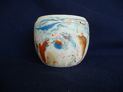 "Nemadji Pottery Vase Native American  Blues/Oranges 4"" Tall EC"