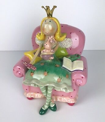 "Whimsical Ceramic Bank Princess Fairy Rabbit Book Pink Chair 7"" Tall Flawed"