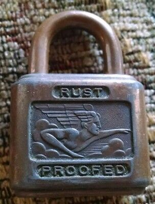 "Vintage ANTIQUE ""Rust Proofed"" Padlock NO Key REALLY NICE DESIGN"