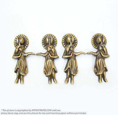 Lot of 4 Vintage Brass HAWAIIAN Hula Hula GIRL Drop pulls Dresser Drawer Pulls