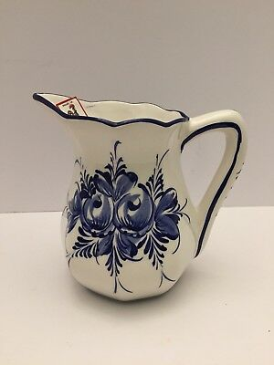 RCCL Ceramic White W/Blue Design Hand Painted Pitcher Made In Portugal w/Tag