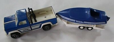Vintage Tonka Pick Up Truck Toy Trailer & Boat -  Steel 1980s Blue