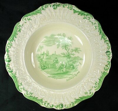 """Ridgway Humphrey's Clock """"Scenes From Chas Dickens"""" Green Soup Bowl(s) 1840's"""