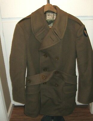 Us Wwii Military Air Force Officer'S Jacket Overcoat Beaver Army Air Corp Patch