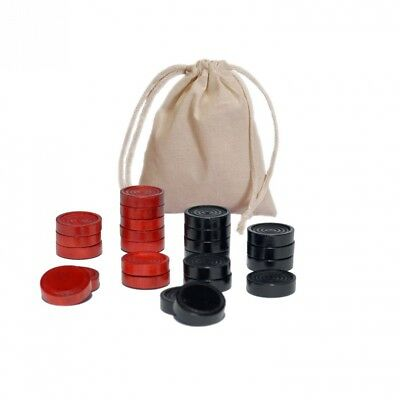 Traditional Wood Draught & Backgammon Pieces with Stackable Ridge - Red/Black