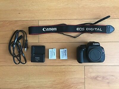 Canon EOS Rebel T3i / EOS 600D 18.0MP Digital SLR Camera Body 2xBatteries