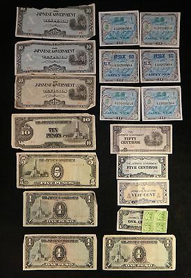 Lot of 18 WWII Japan - Philippines Occupation,  Japanese Government Banknotes.