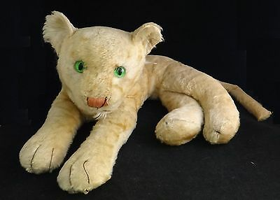 """Large Vintage Steiff ? Mohair Young lion.  Green Eyes, Approx. 19"""" x15"""" and 9"""" t"""