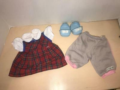 Cabbage Patch Doll Clothes Shoes lot-Blue sandals-Plaid Dress-Sweat pants