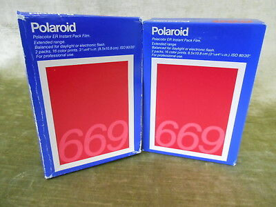 Polaroid 669 film 2 boxes of 16 each for 32 total shots sheets expired
