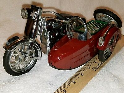 RARE 1950's TIN MARUSAN SUNBEAM MOTORCYCLE WITH SIDECAR & SPARE TIRE